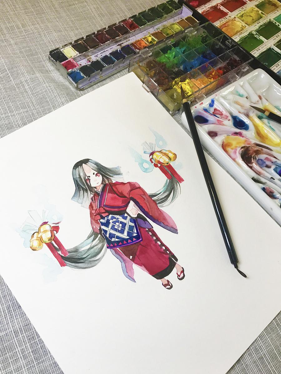 水彩手绘--阴阳师 座敷童子