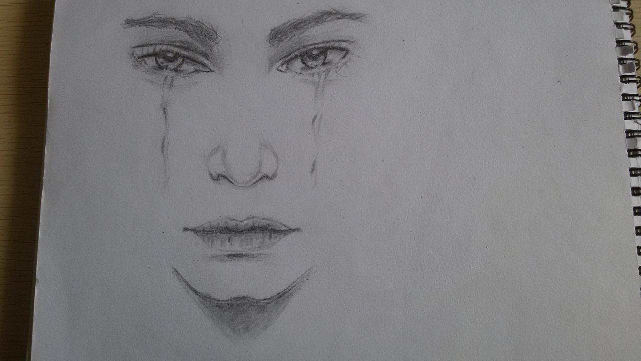 手绘铅笔画 流泪