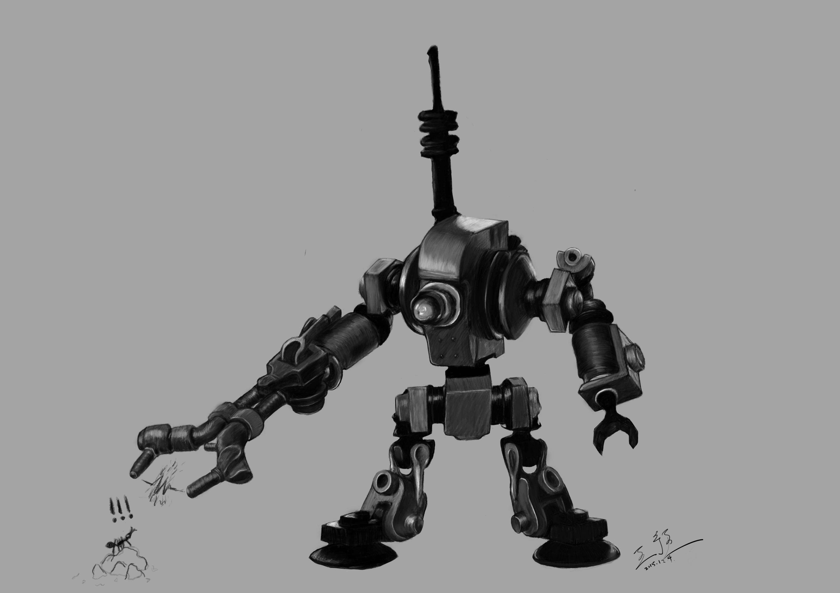 手绘素描机器人
