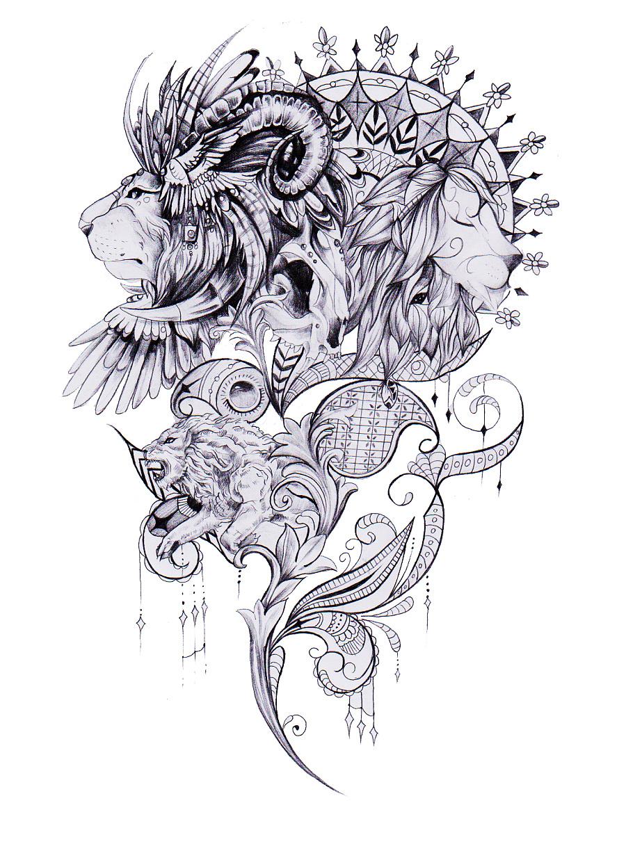 原创纹身手稿加纹身.一图只为一人.