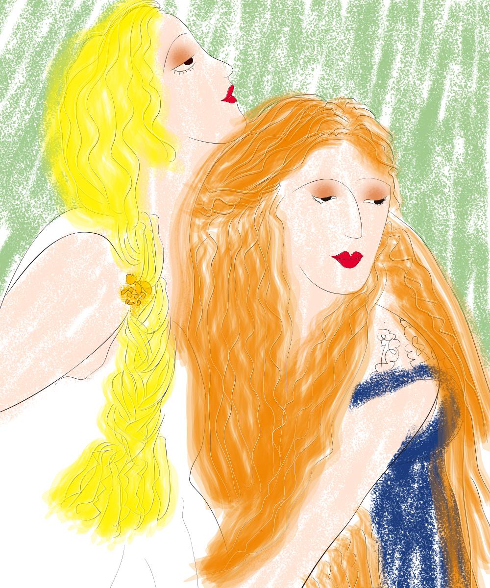 2个女人 抽象人物 方便面头发 画画好开心 微信baby1311646485