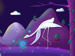紫色天鹅与月亮