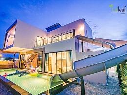 从阳台一溜入池-滑水道泳池民宿