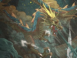 《全球风暴》电影中国风插画海报设计