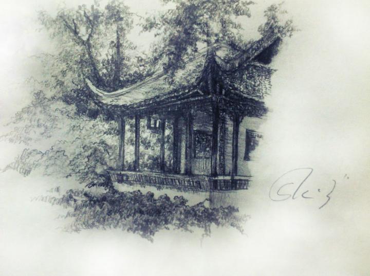 拙政园速写手绘图