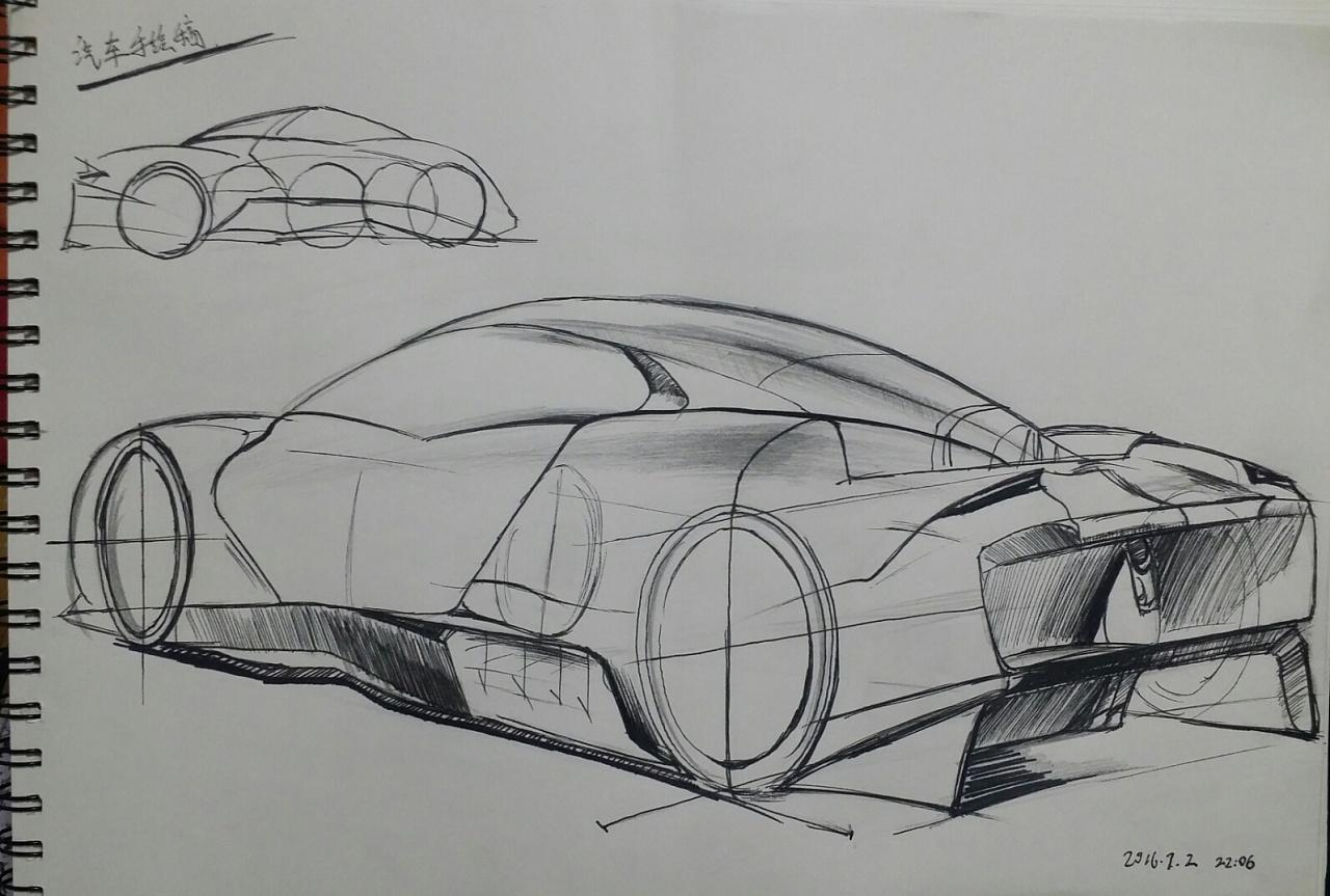 汽车临摹手绘