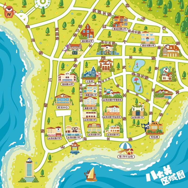 青岛八大关手绘地图