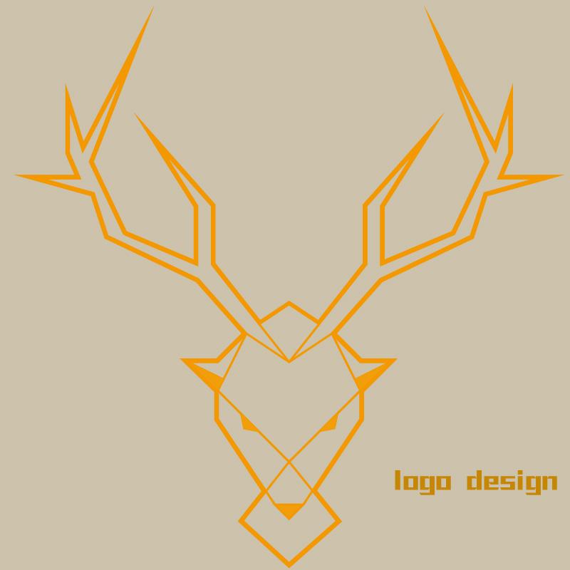 logo设计练习(直线条的鹿)|标志|平面|星晴l