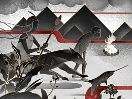 贯鱼之序-人类与生态系列插画设计