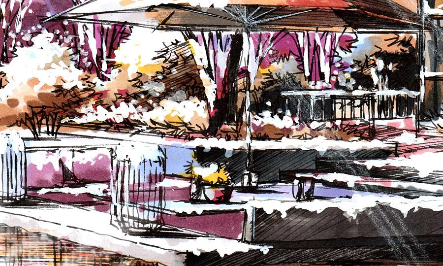 艾绘设计·景观设计手绘表现·冬日暖阳气氛表达