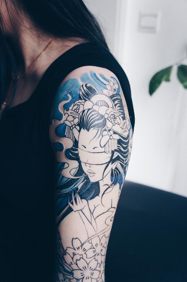 老徐的纹身作品-有艺妓的日式花臂|涂鸦/潮流|插画