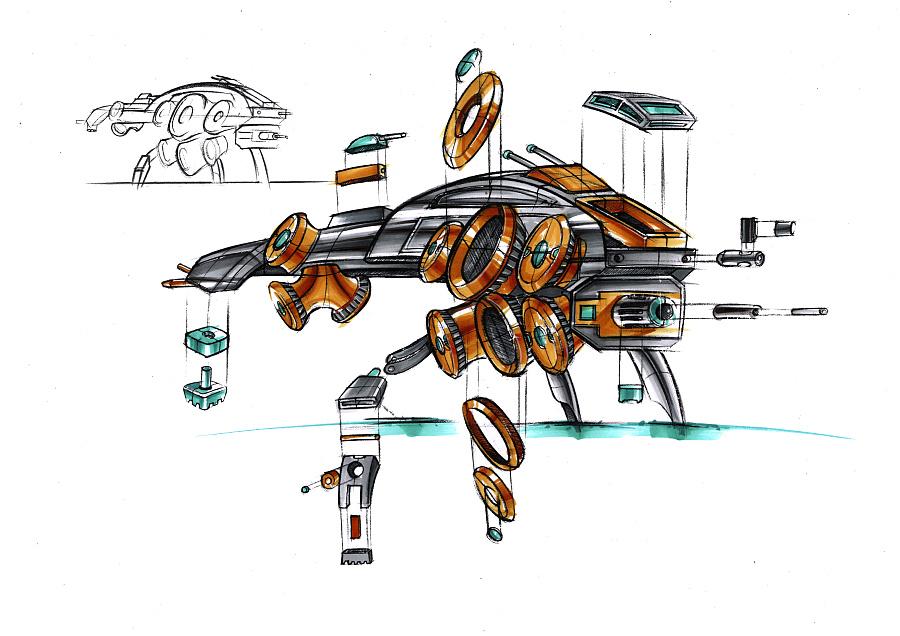 工业产品手绘爆炸图_工业设计产品爆炸图