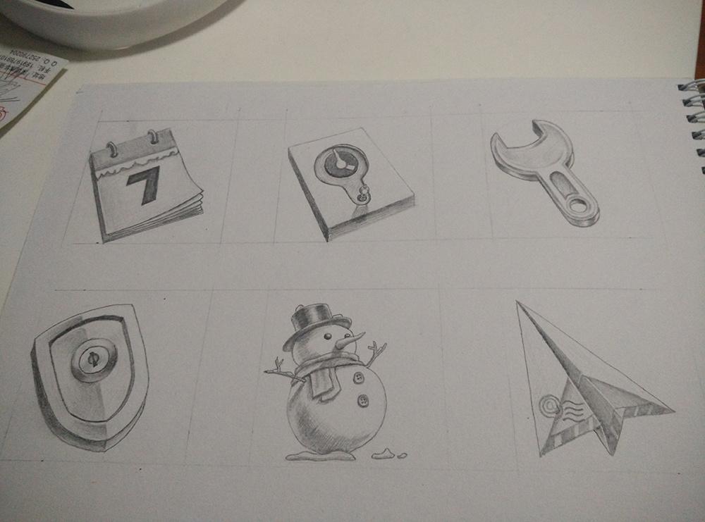 手机图标手绘临摹|ui|图标|熙小明 - 原创作品 - 站酷