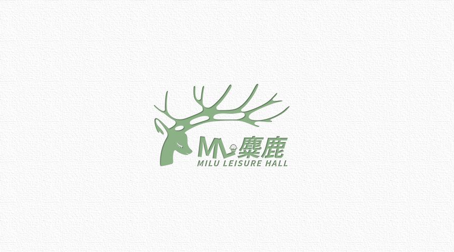 麋鹿休闲厅logo平面标志fangmin05267原创