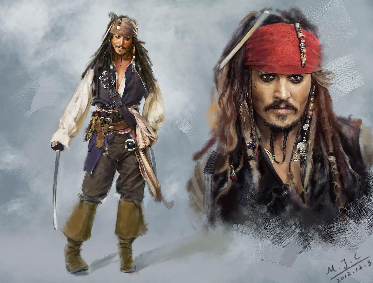 加勒比海盗----杰克船长 插画 商业插画 马骏驰0909 - 原创作品 - 站酷 (ZCOOL)