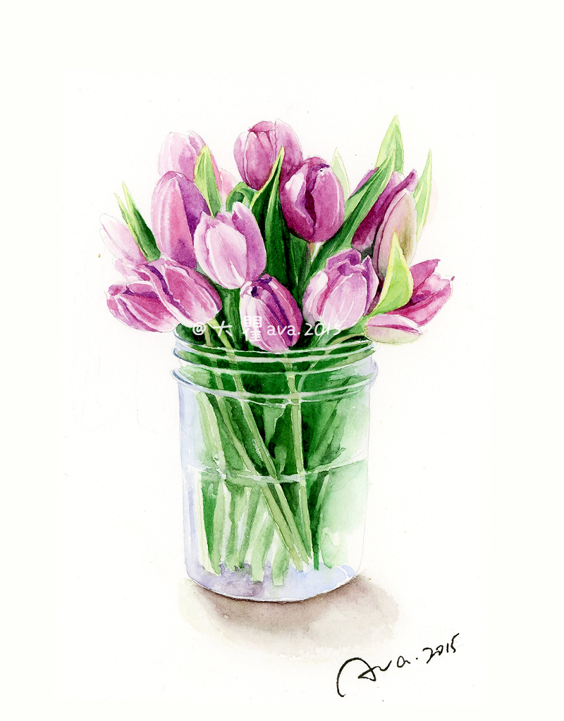 小清新手绘水彩花卉一