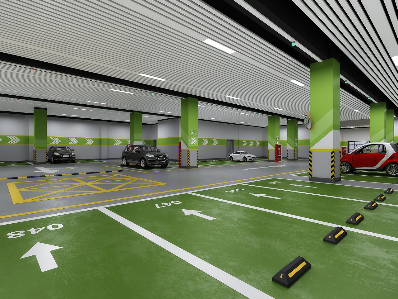 地下停车场|空间|室内设计|1992效果图小瑜 - 原创图片