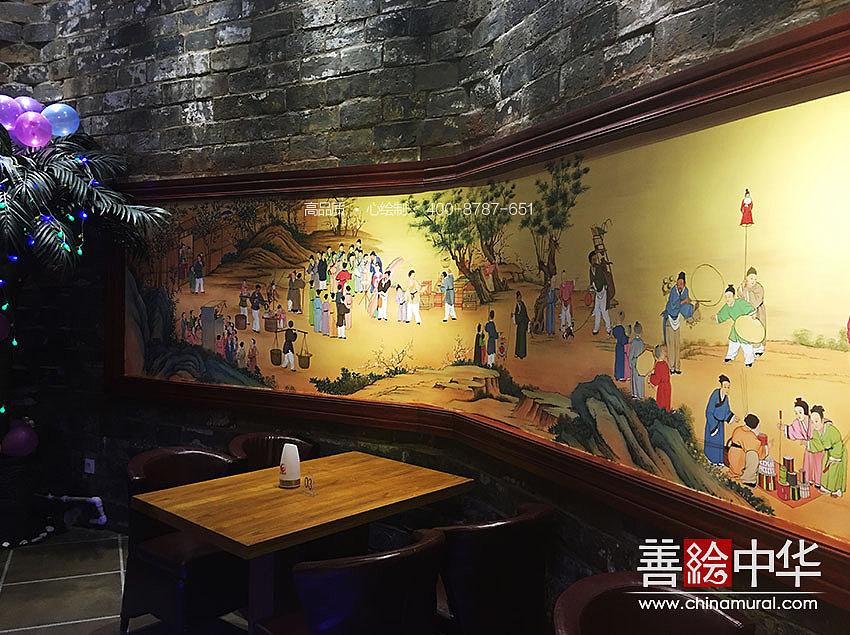 《隆中家苑》中式风格音乐餐厅——室内外墙体彩绘