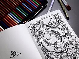 装饰画人物涂鸦插画
