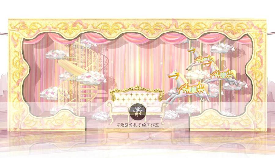 【婚礼手绘】电脑手绘—巴洛克粉金展示区效果图