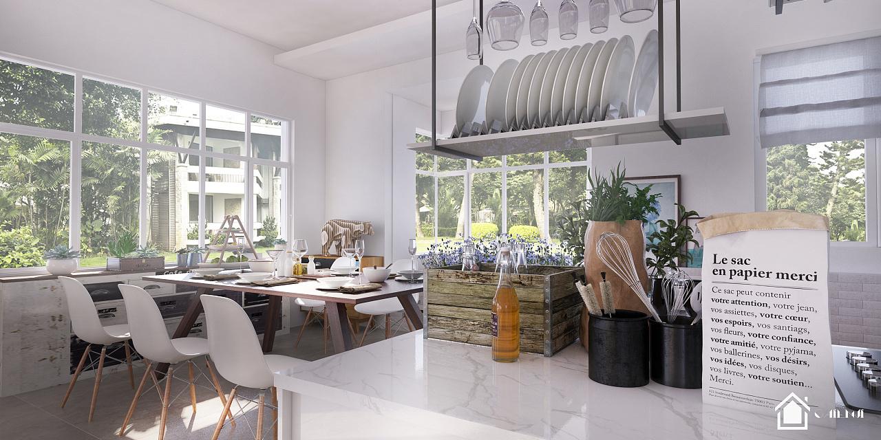 北欧风格餐厅厨房|空间|室内设计|caienji - 原创作品
