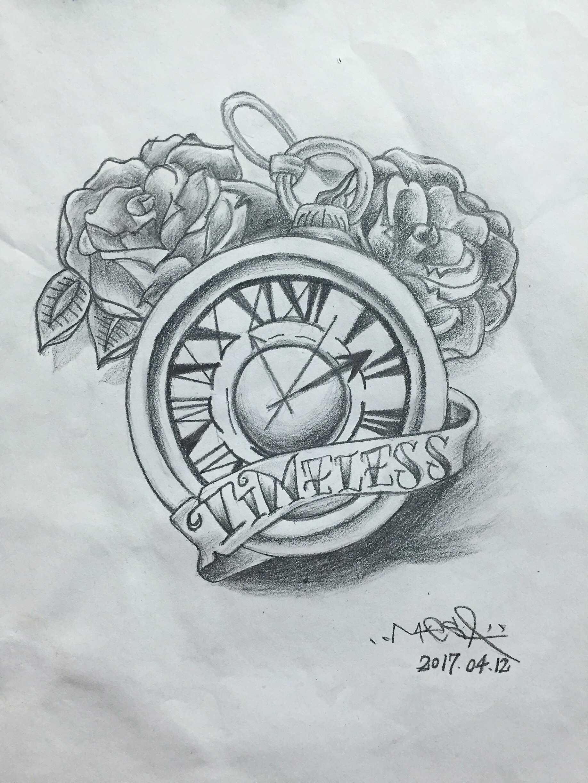 临摹 #纹身手稿 #tatto #玫瑰花 #怀表