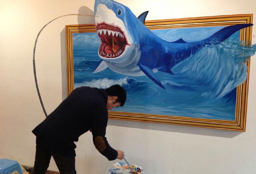 北京商场纯手绘3d画涂鸦墙过程展示|墙绘/立体画