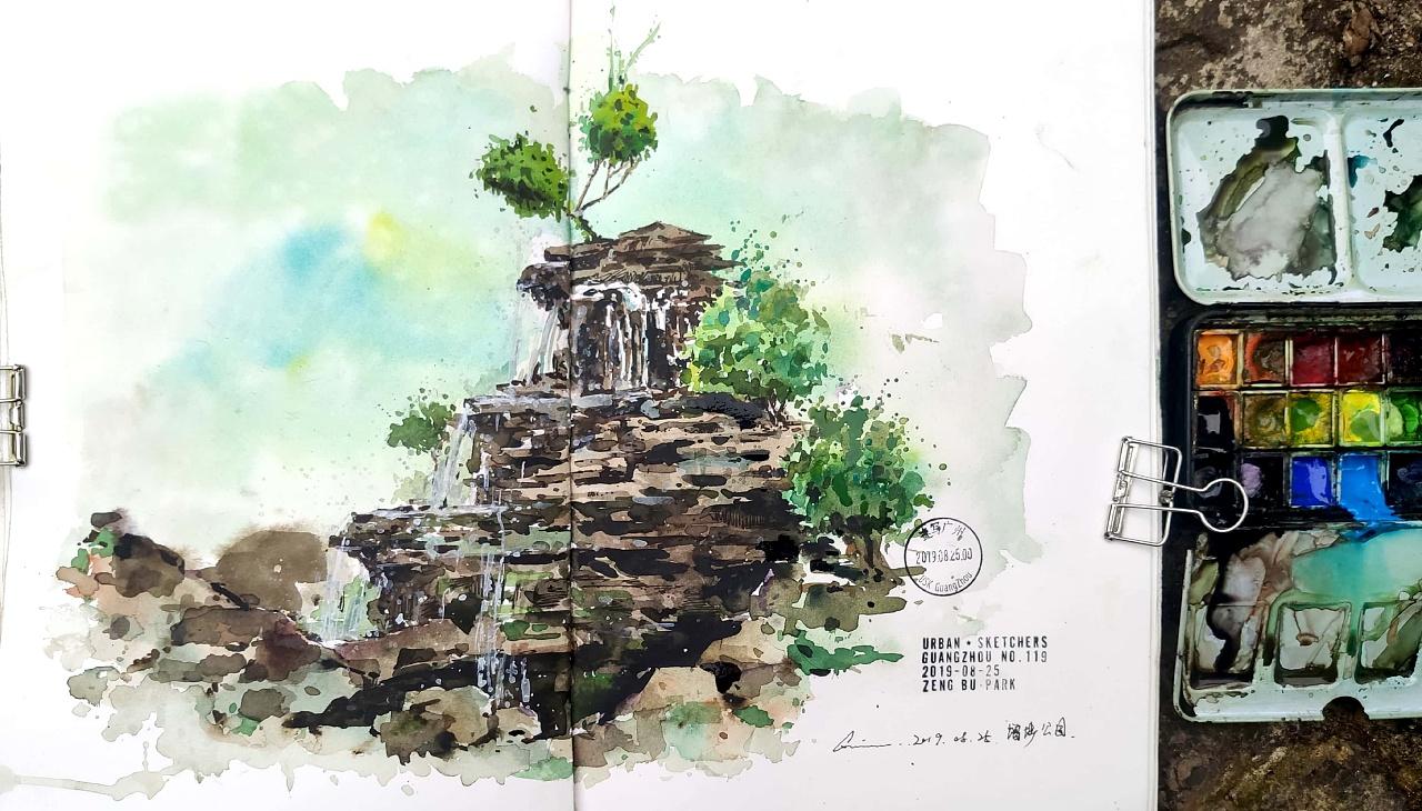 增埗公园_增埗公园 拿小喵咖啡馆 画画写生 纯艺术 水彩 陈一丘 - 原创作品 ...