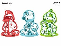 鸭嘴兽男孩 潮流嘻哈风 系列插画