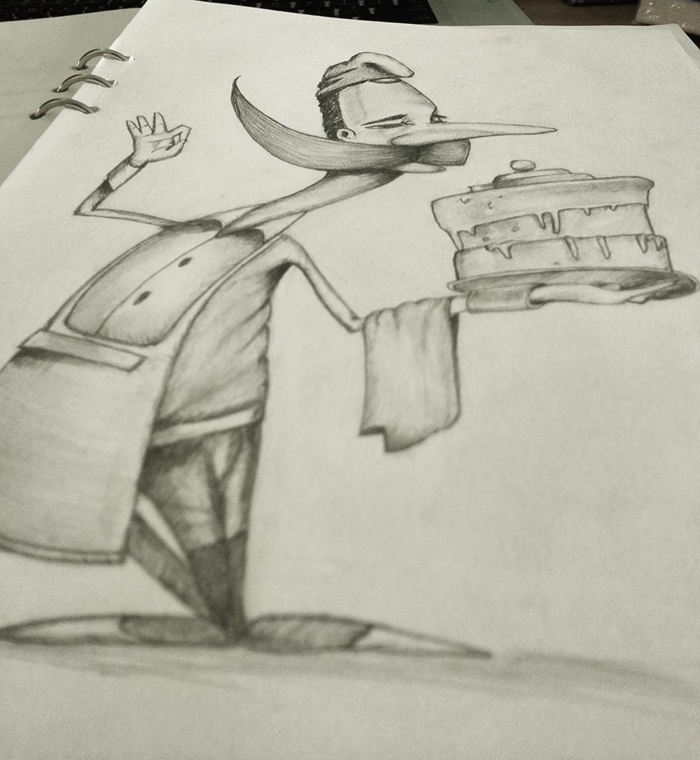 手绘之蛋糕男