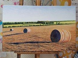 油画新作品《丰收后的麦田》即将完工