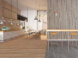 绘时光-木色结合-地面展示设计-北欧设计