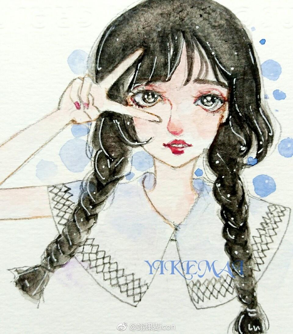 手绘头像 水彩   原创    少女风格