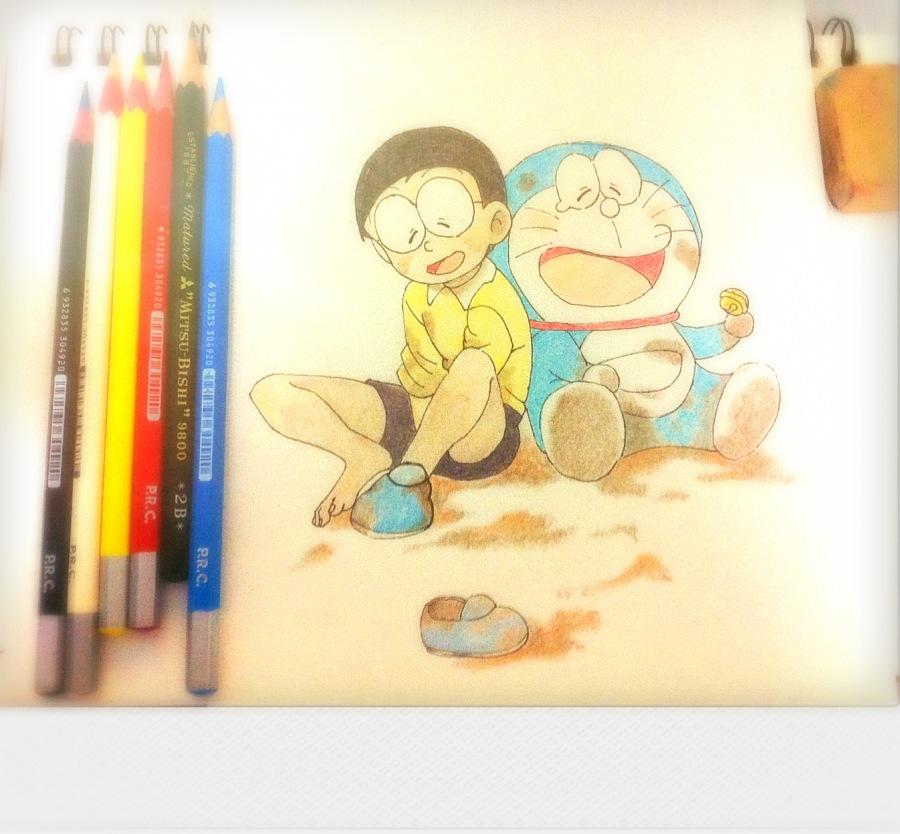 彩铅手绘小插画 绘画习作 插画 湘艺人
