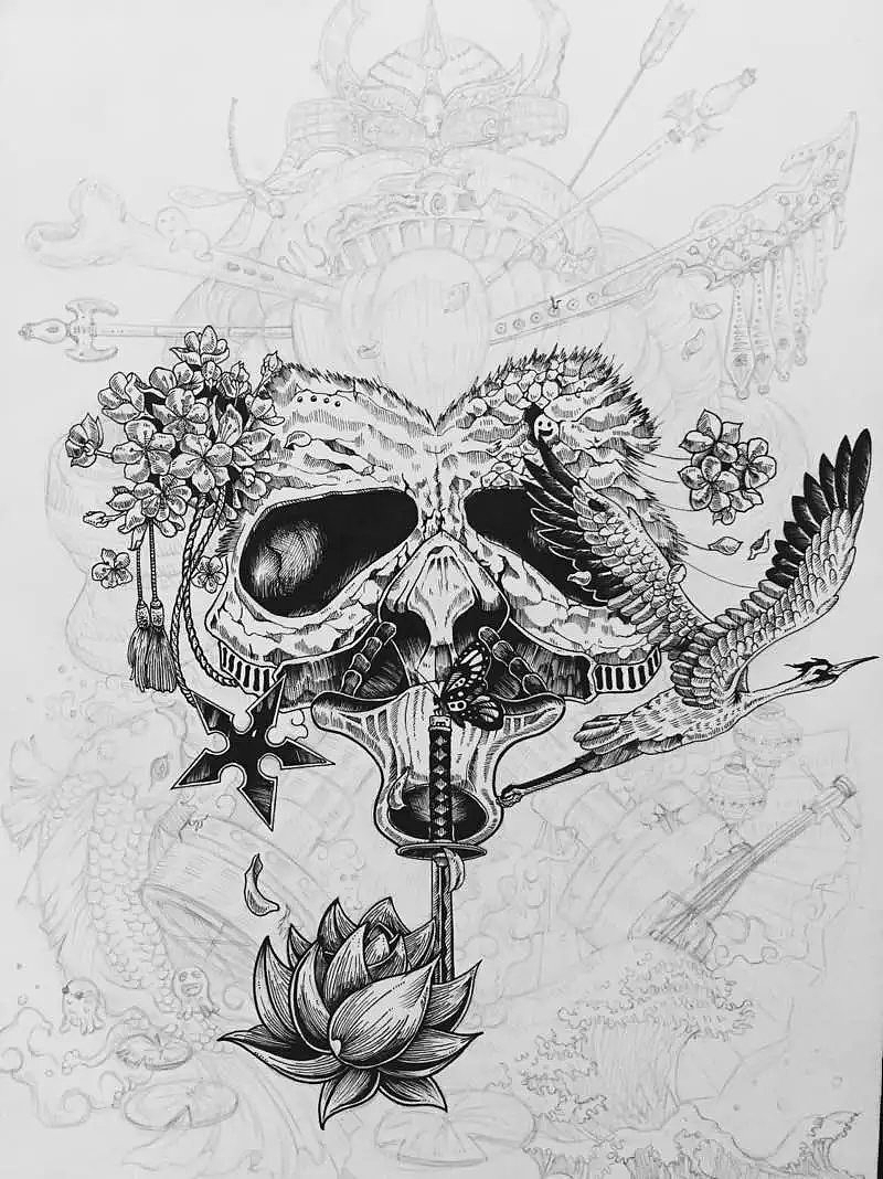 针管笔 黑白手绘|插画|插画习作|以津真天 - 原创作品