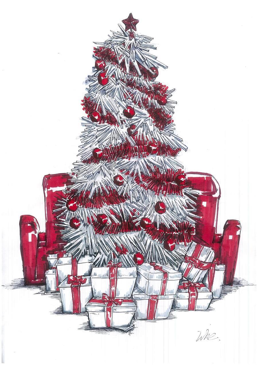 圣诞马克笔彩铅手绘插画
