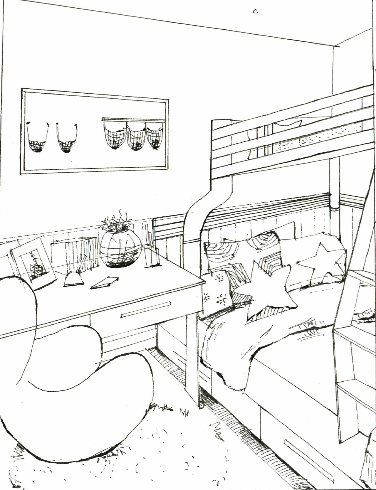 儿童房手绘/黑白装饰画