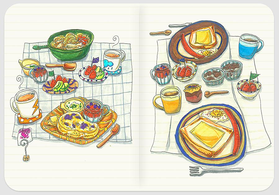 爱的早餐系列手绘小插画-1