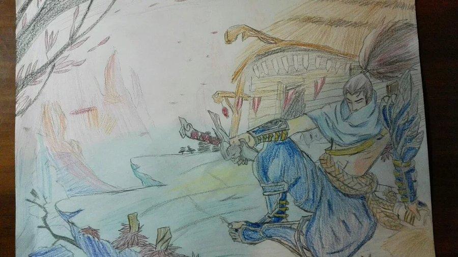 亚索|单幅漫画|漫画|亻折翼之舞-游戏设计作品人鱼原创动漫图片