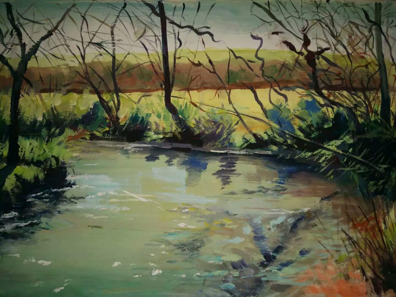 水粉风景画临摹囹�a_画了张水粉的风景