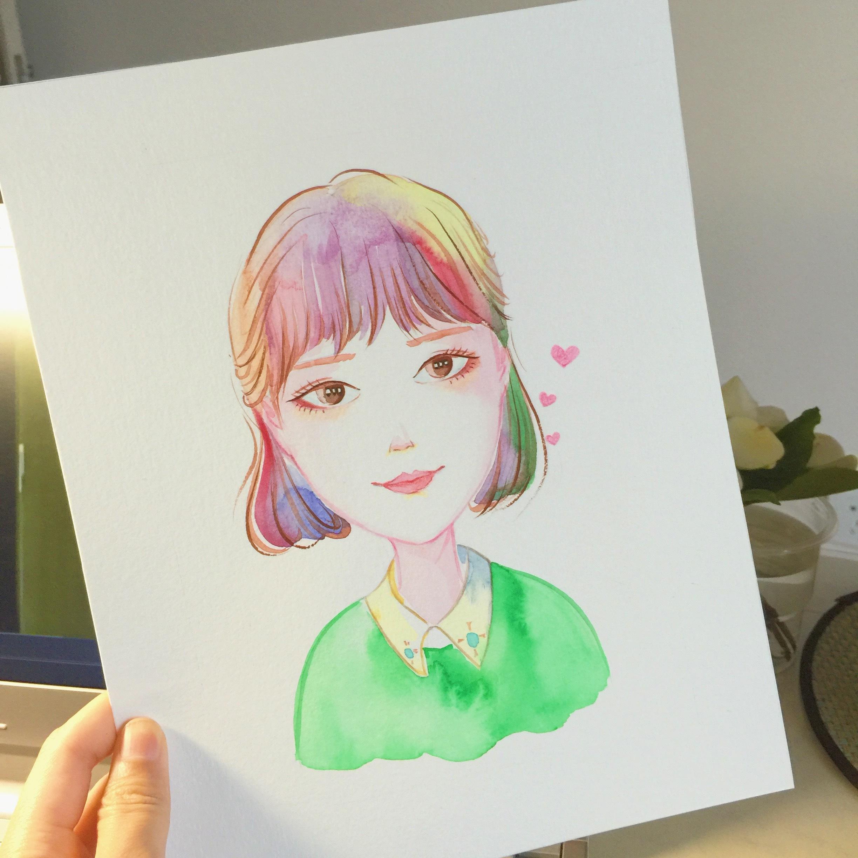 手绘头像定制|纯艺术|水彩|moniccat - 原创作品