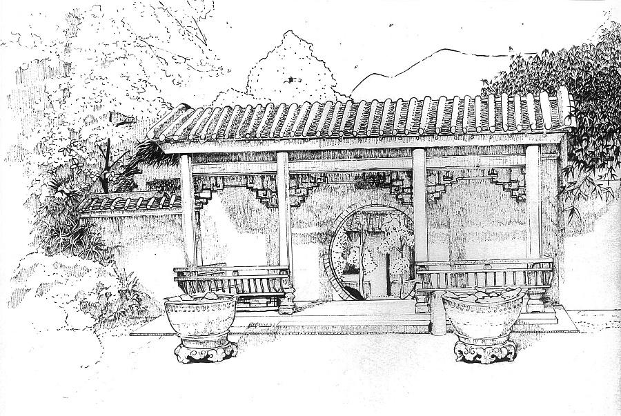场景手绘原稿(四)苏州园林|其他绘画|插画|读白