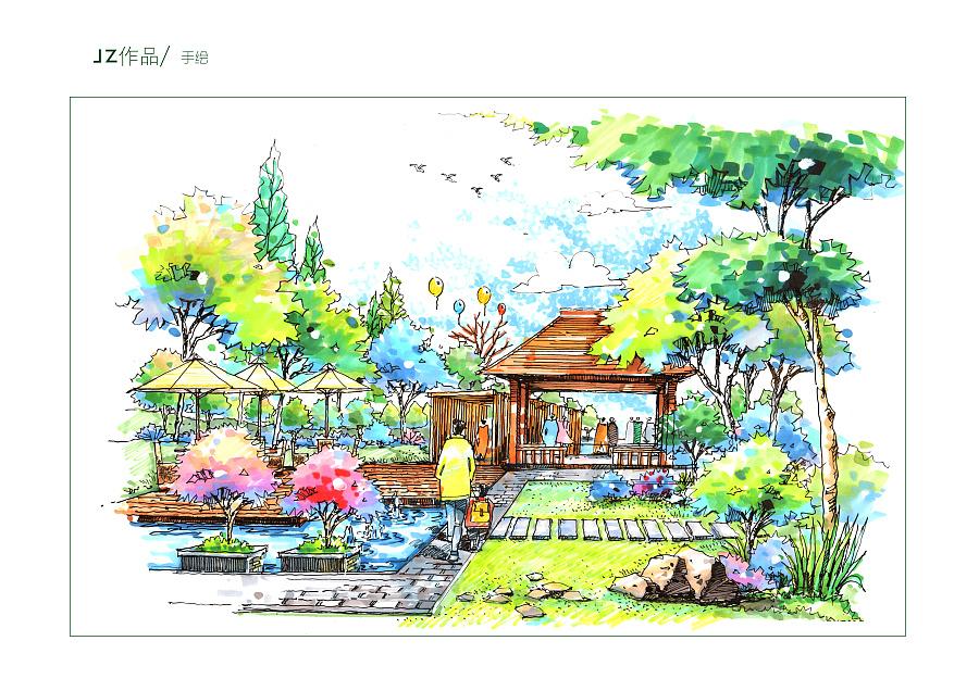 手绘-马克笔|园林景观/规划|空间/建筑|嘉筑