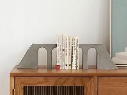 尘市集|水泥拱门楼梯桌面书立混凝土建筑摆件原创设计