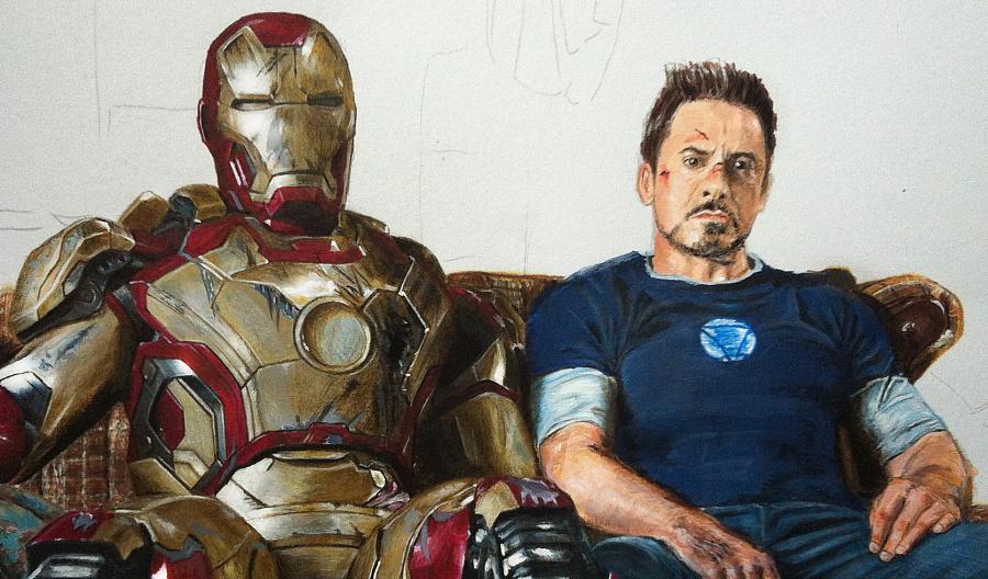 不一样的手绘钢铁侠和tony,马克笔 彩铅