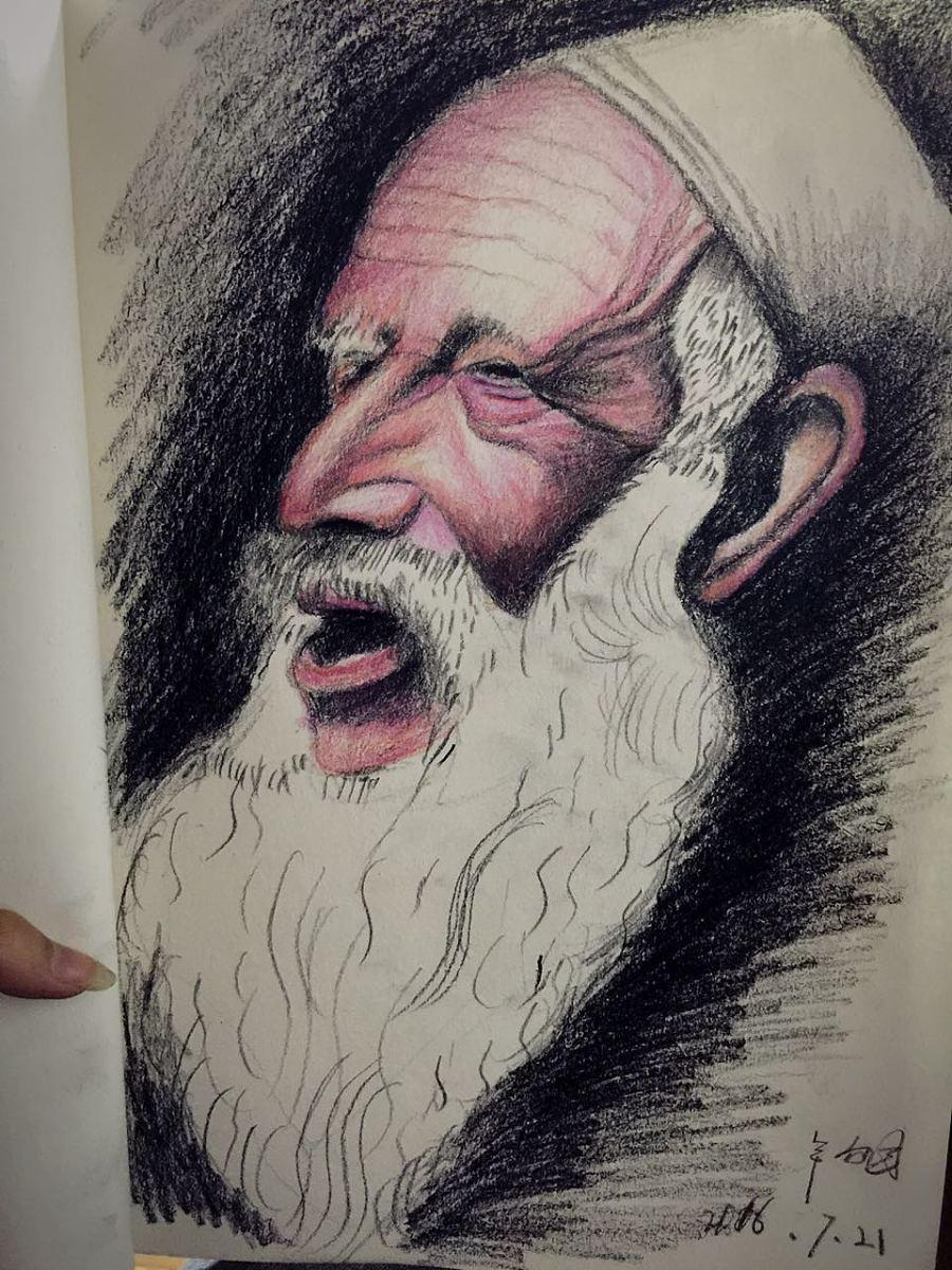 手绘老人 彩铅人物头像