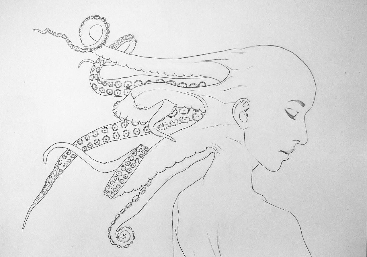 铅笔手绘古风女孩