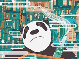 城市系列建筑插画-成都