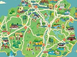 【商业插画】Q版手绘抚州旅游攻略地图