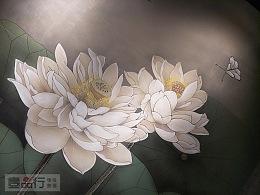 手绘荷花|晋中彩绘|中式墙面彩绘|国画墙体彩绘
